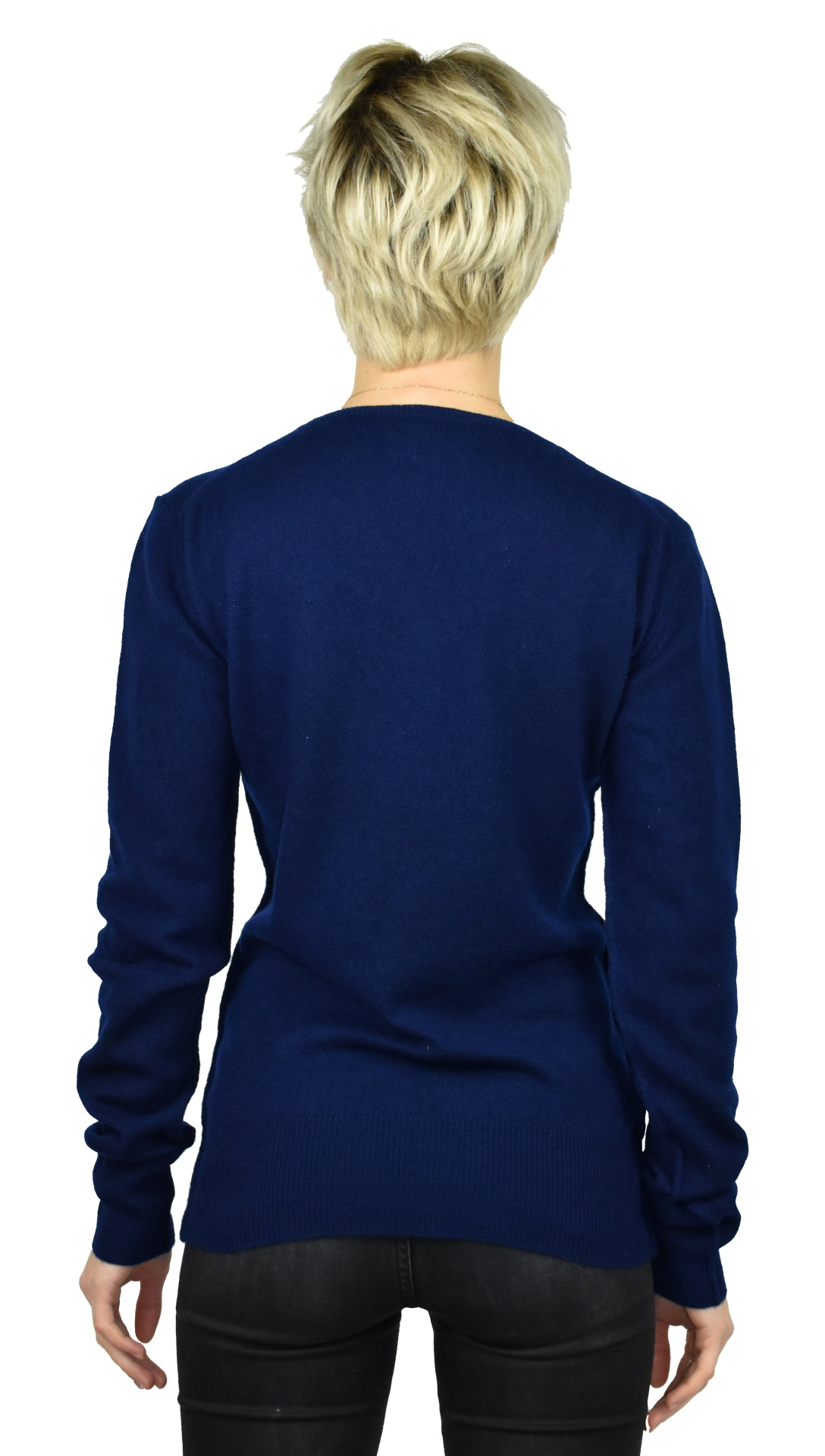 MAVISMBA NAVY MAGLIA DONNA GIROCOLLO 100 CASHMERE MANICA LUNGA 1 1stAmerican maglia girocollo 100% puro cashmere Made in Italy da donna con lavorazione traforata - finezza 12