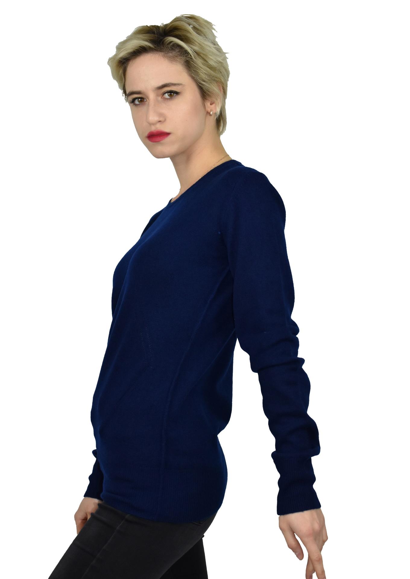 MAVISMBA NAVY MAGLIA DONNA GIROCOLLO 100 CASHMERE MANICA LUNGA 3 1stAmerican maglia girocollo 100% puro cashmere Made in Italy da donna con lavorazione traforata - finezza 12
