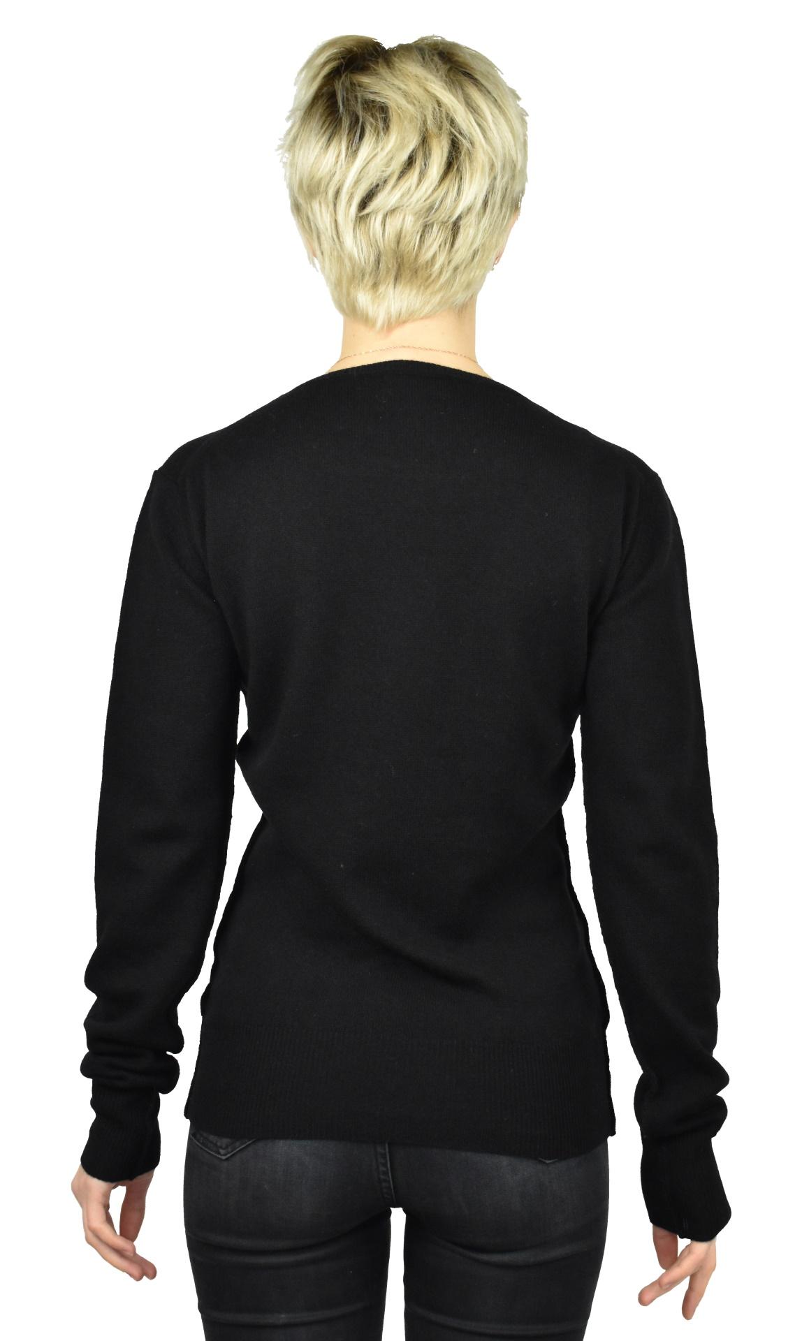 MAVISMBA NERO MAGLIA DONNA GIROCOLLO 100 CASHMERE MANICA LUNGA 1 1stAmerican maglia girocollo 100% puro cashmere Made in Italy da donna con lavorazione traforata - finezza 12