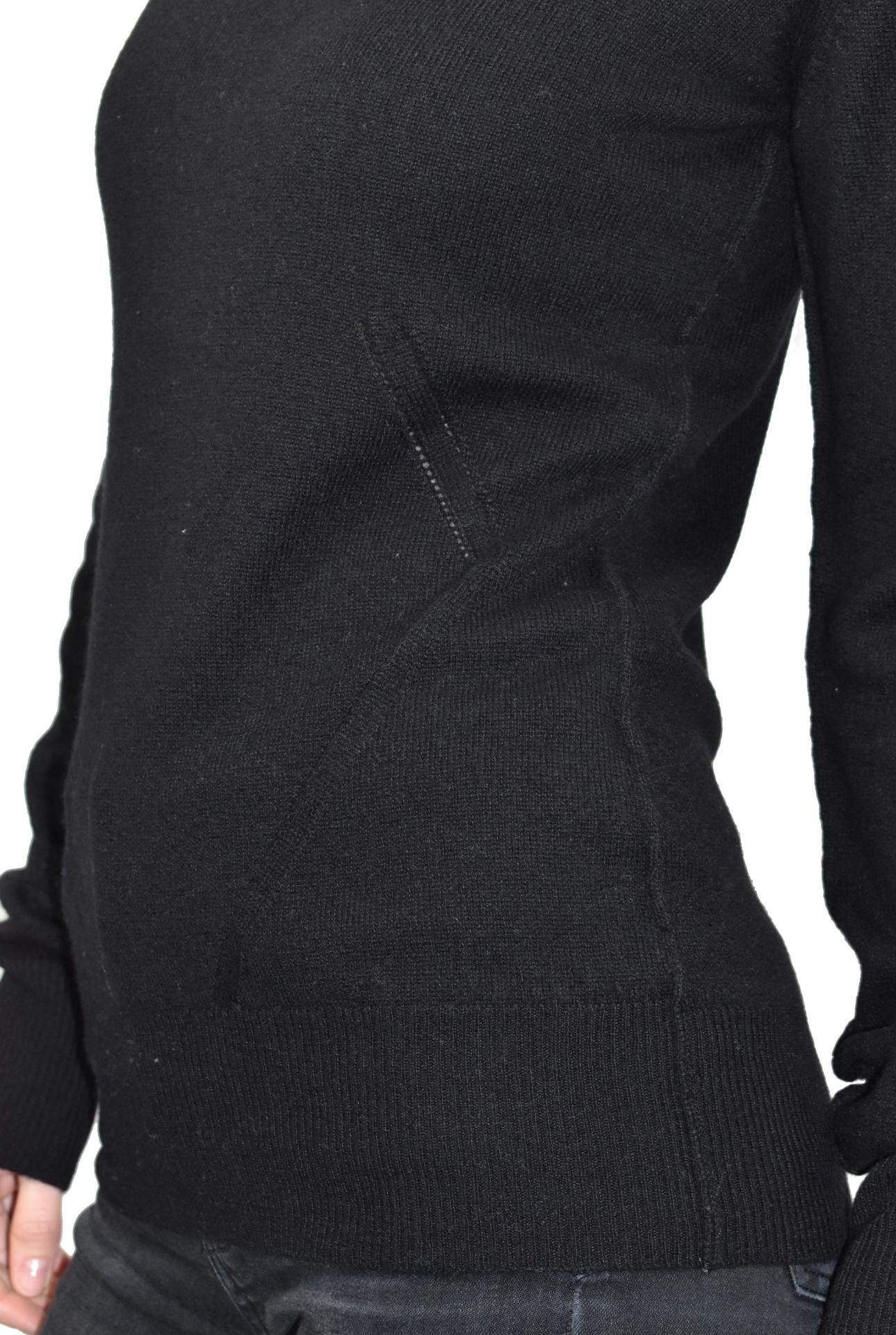 MAVISMBA NERO MAGLIA DONNA GIROCOLLO 100 CASHMERE MANICA LUNGA 4 1stAmerican maglia girocollo 100% puro cashmere Made in Italy da donna con lavorazione traforata - finezza 12