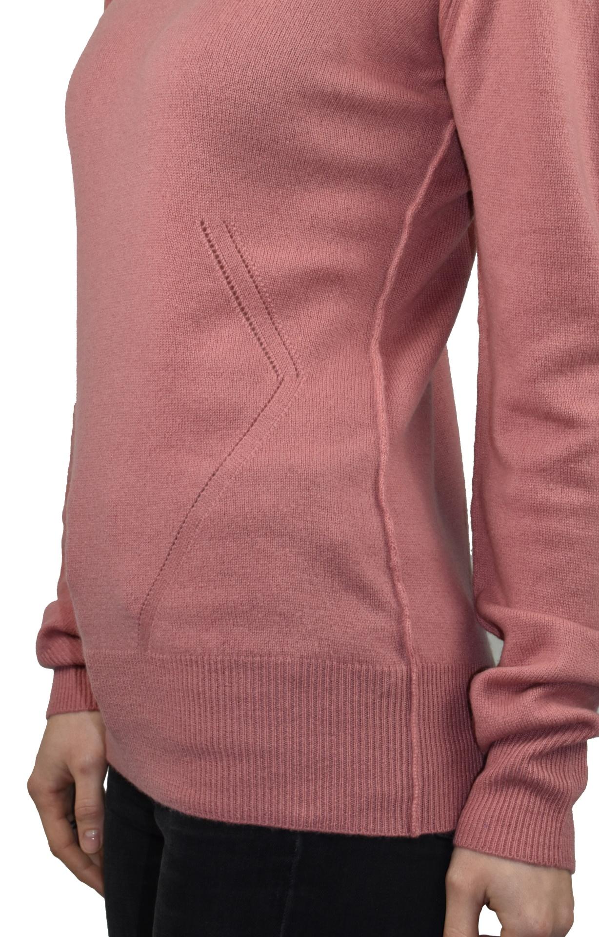 MAVISMBA ROSA MAGLIA DONNA GIROCOLLO 100 CASHMERE MANICA LUNGA 4 1stAmerican maglia girocollo 100% puro cashmere Made in Italy da donna con lavorazione traforata - finezza 12