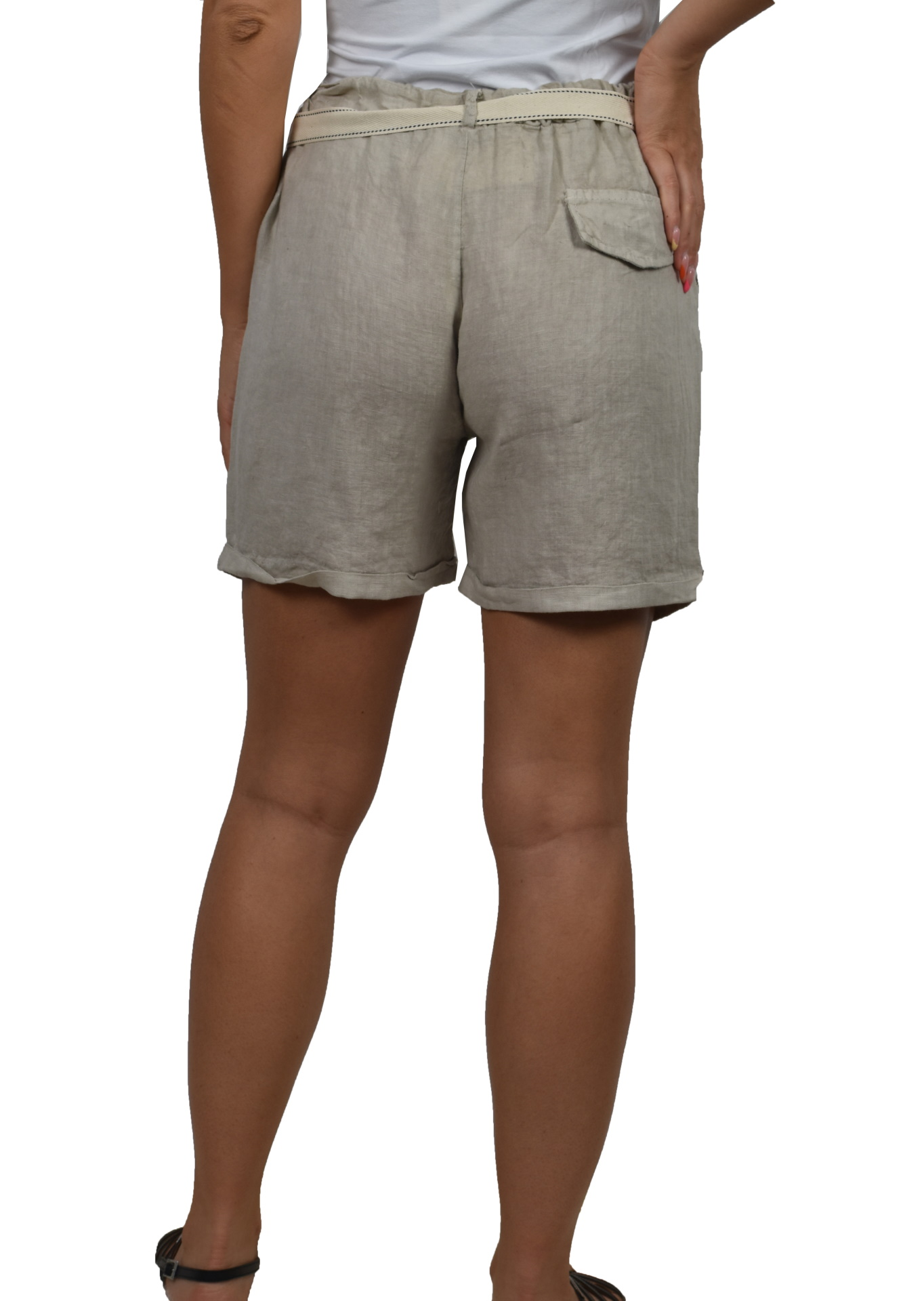 PANMAXPE2101 GRIGIO PANTALONCINO DA DONNA 100 LINO 1 1stAmerican pantaloncino da donna 100% lino Made in Italy - bermuda mare