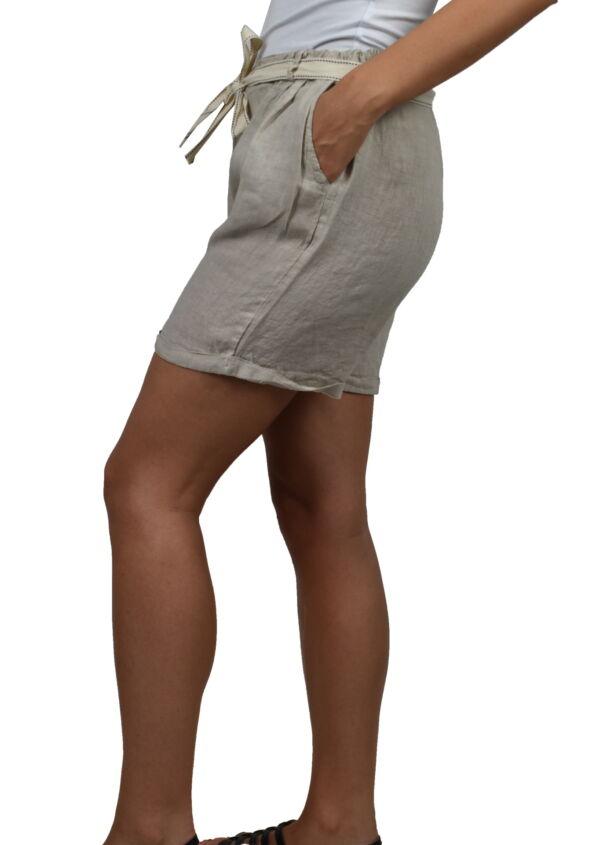 PANMAXPE2101 GRIGIO PANTALONCINO DA DONNA 100 LINO 2 1stAmerican pantaloncino da donna 100% lino Made in Italy - bermuda mare