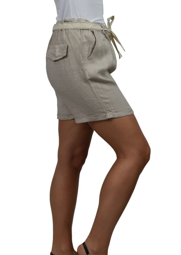 PANMAXPE2101 GRIGIO PANTALONCINO DA DONNA 100 LINO 3 1stAmerican pantaloncino da donna 100% lino Made in Italy - bermuda mare