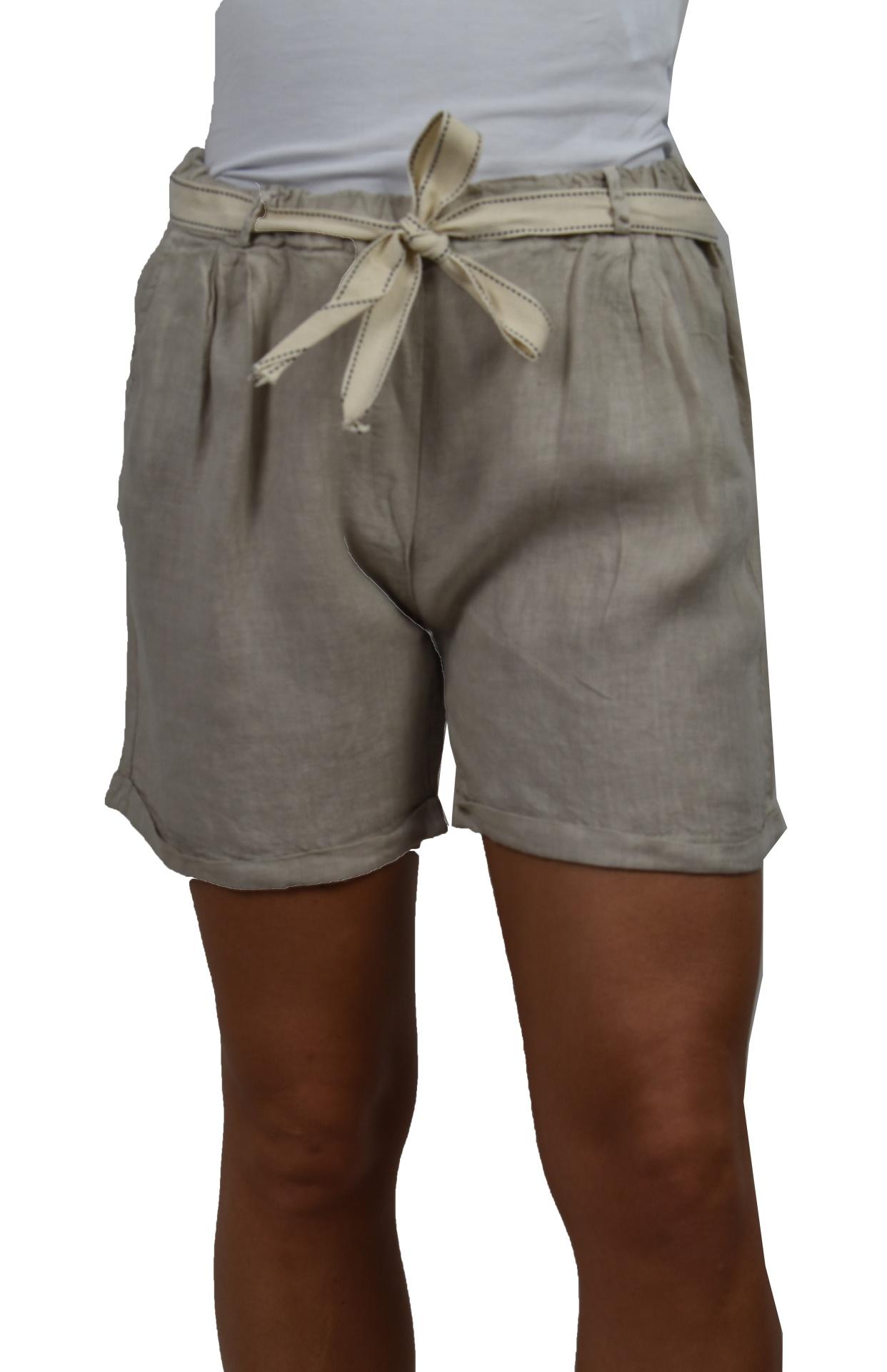 PANMAXPE2101 GRIGIO PANTALONCINO DA DONNA 100 LINO 4 1stAmerican pantaloncino da donna 100% lino Made in Italy - bermuda mare
