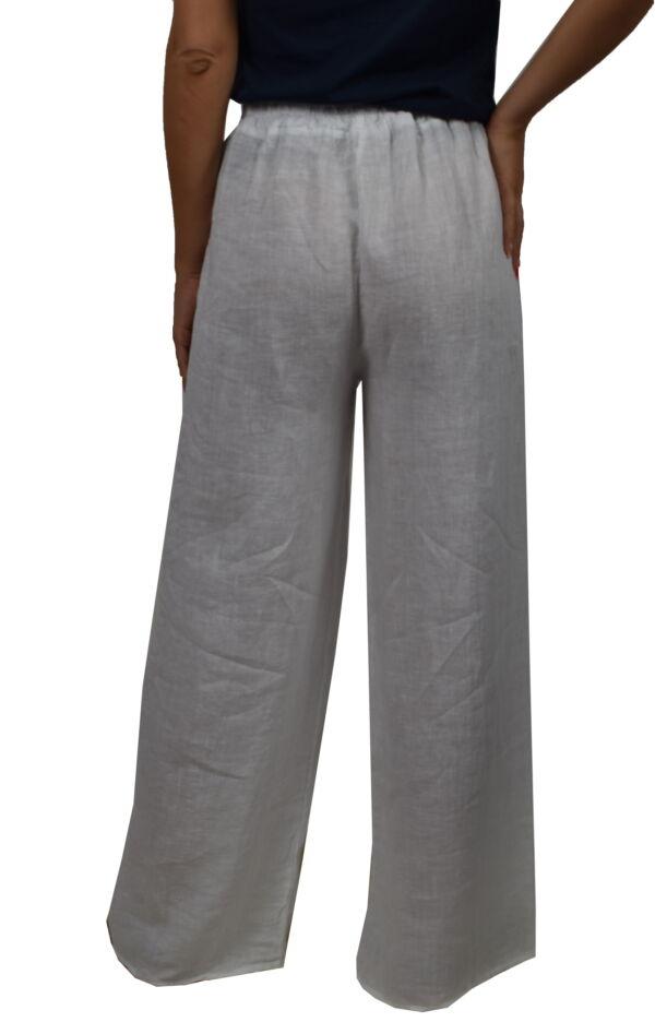 PANMAXPE2102 BIANCO PANTALONE DA DONNA A GAMBA LARGA 100 LINO 1 1stAmerican pantalone da donna a gamba larga 100% lino Made in Italy - pantalone mare donna