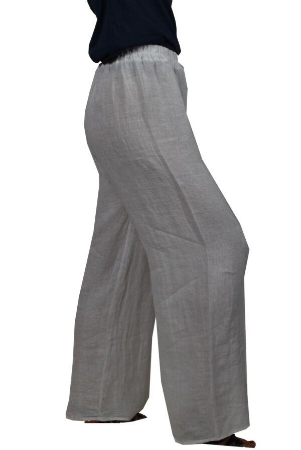 PANMAXPE2102 BIANCO PANTALONE DA DONNA A GAMBA LARGA 100 LINO 3 1stAmerican pantalone da donna a gamba larga 100% lino Made in Italy - pantalone mare donna