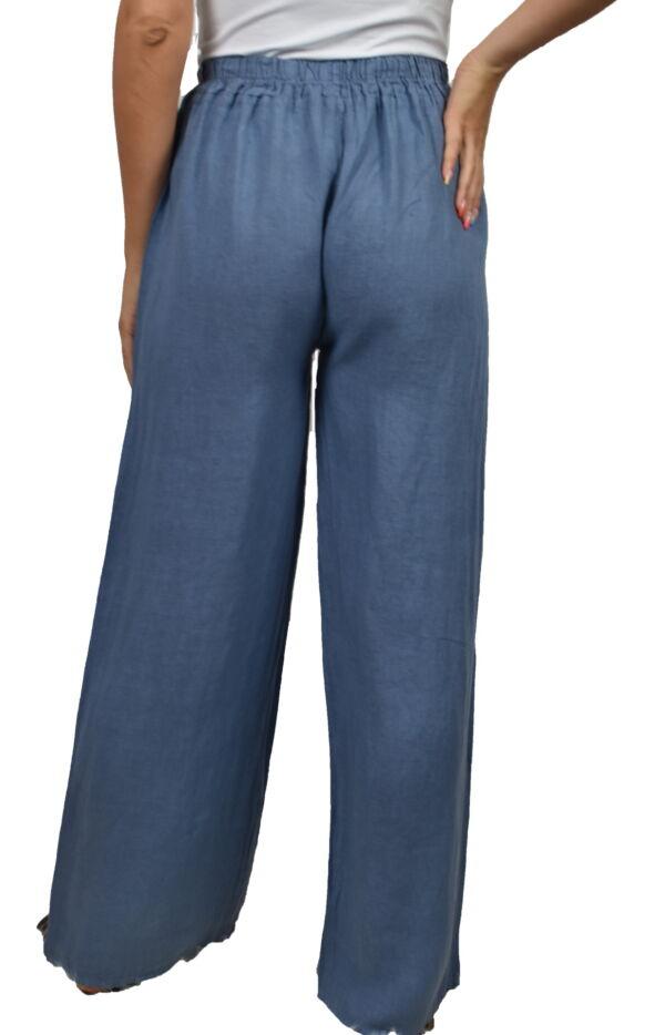 PANMAXPE2102 JEANS PANTALONE DA DONNA A GAMBA LARGA 100 LINO 1 1stAmerican pantalone da donna a gamba larga 100% lino Made in Italy - pantalone mare donna