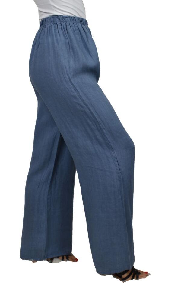 PANMAXPE2102 JEANS PANTALONE DA DONNA A GAMBA LARGA 100 LINO 3 1stAmerican pantalone da donna a gamba larga 100% lino Made in Italy - pantalone mare donna